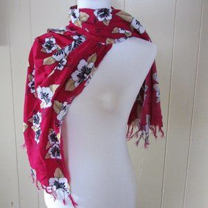 """Red fringed flowered rayon scarf 59""""X20"""""""